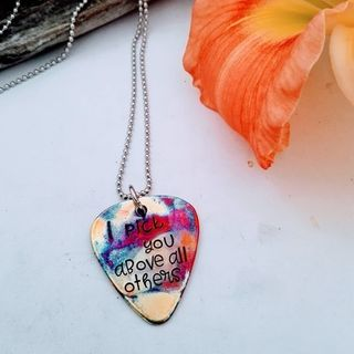Fire Painted Guitar Pick Pendant